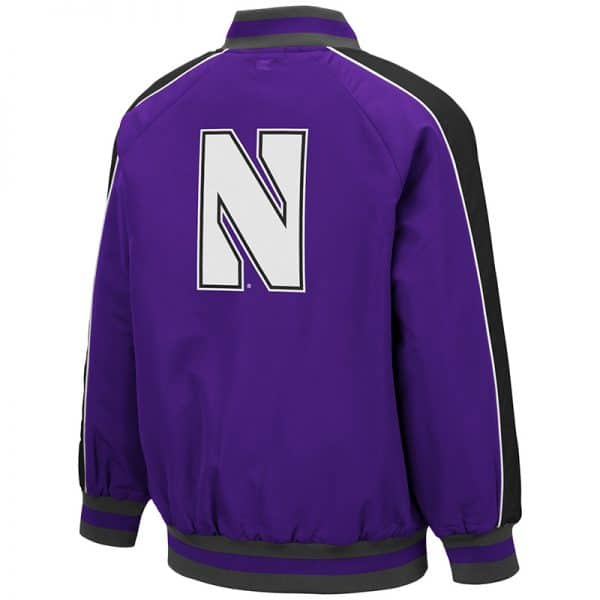 Northwestern University Wildcats Colosseum Youth Codger Bomber Jacket with N-Cat Design -Back