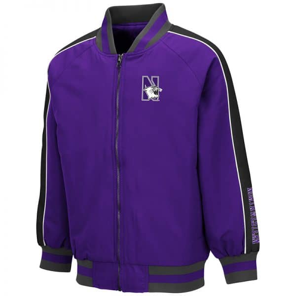 Northwestern University Wildcats Colosseum Youth Codger Bomber Jacket with N-Cat Design