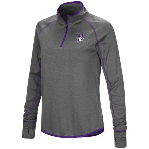 Northwestern University Wildcats Colosseum Ladies Grey Stingray 1/4 Zip Windshirt with N-Cat Design