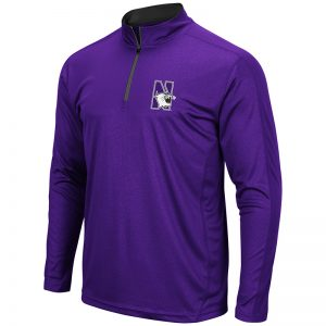 Northwestern University Wildcats Colosseum Men's Purple Loggerhead 1/4 Zip Windshirt with N-Cat Design