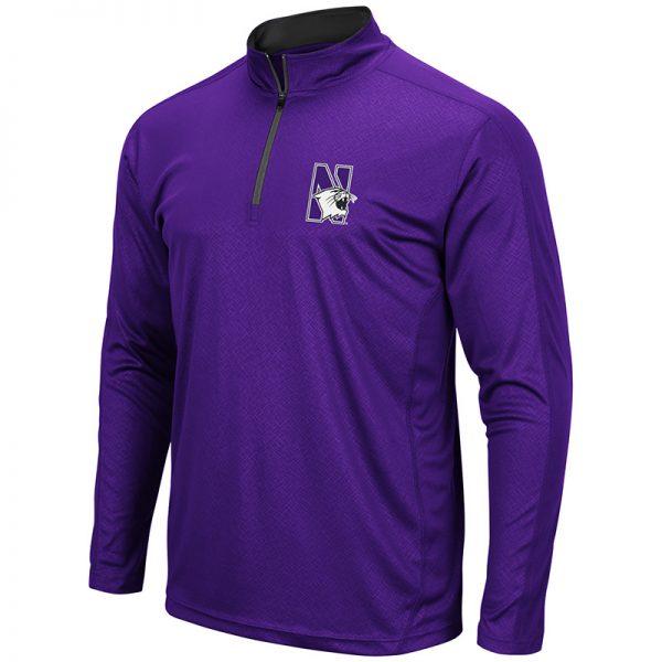 Northwestern University Wildcats Colosseum Men's Purple Loggerhead 1/4 Zip Windshirt with N-Cat Design