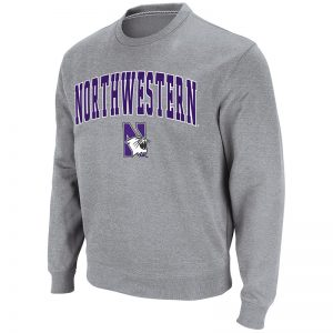 Northwestern University Wildcats Men's Silver Colosseum Crewneck Sweatshirt With Sewn Arched Northwestern Over N-Cat Design