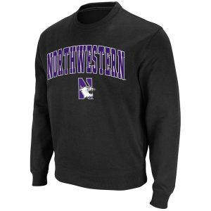 Northwestern University Wildcats Men's Black Colosseum Crewneck Sweatshirt With Sewn Arched Northwestern Over N-Cat Design
