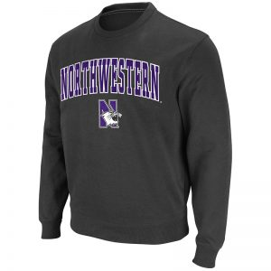 Northwestern University Wildcats Men's Charcoal Colosseum Crewneck Sweatshirt With Sewn Arched Northwestern Over N-Cat Design