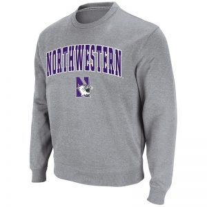 Northwestern University Wildcats Men's Heather Grey Colosseum Crewneck Sweatshirt With Sewn Arched Northwestern Over N-Cat Design