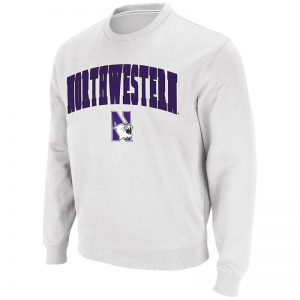 Northwestern University Wildcats Men's White Colosseum Crewneck Sweatshirt With Sewn Arched Northwestern Over N-Cat Design