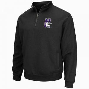 Northwestern University Wildcats Colosseum Men's Black VF 1/4 Zip Sweatshirt with N-Cat Design