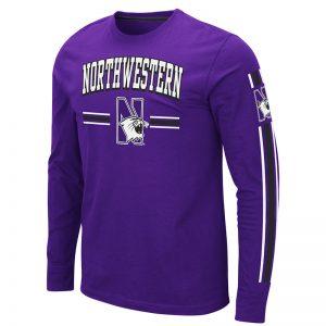 Northwestern University Wildcats Colosseum Men's Purple Pikes Peak L/S T-Shirt with Northwestern & N-Cat Design