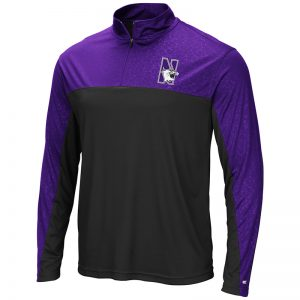 Northwestern University Wildcats Colosseum Men's Sentinel 1/4 Zip Windshirt with N-Cat Design