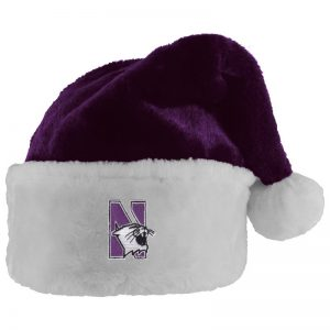Northwestern University Wildcats Purple Velour Santa Hat with N-Cat Design