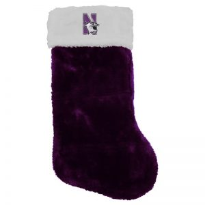 Northwestern University Wildcats Purple Velour Christmas Stocking with N-Cat Design