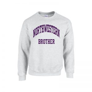 Northwestern University Wildcats Light Grey Crewneck Sweatshirt With Brother Design