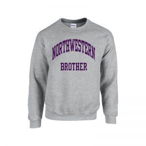 Northwestern University Wildcats Dark Grey Crewneck Sweatshirt With Brother Design