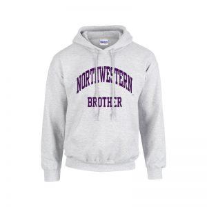 Northwestern University Wildcats Light Grey Hooded Sweatshirt With Brother Design