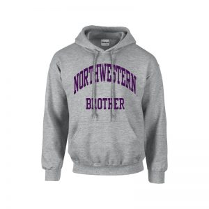 Northwestern University Wildcats Dark Grey Hooded Sweatshirt With Brother Design