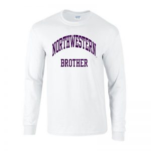 Northwestern University Wildcats White Long Sleeve Tee Shirt with Brother Design