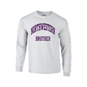Northwestern University Wildcats Light Grey Long Sleeve Tee Shirt with Brother Design
