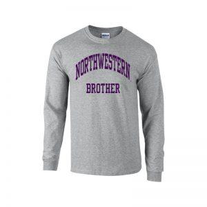 Northwestern University Wildcats Dark Grey Long Sleeve Tee Shirt with Brother Design