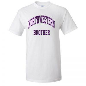 Northwestern University Wildcats Sport White Short Sleeve Tee Shirt with Brother Design NW2530