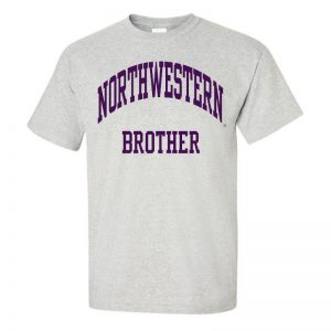 Northwestern University Wildcats Light Grey Short Sleeve Tee Shirt with Brother Design NW2531