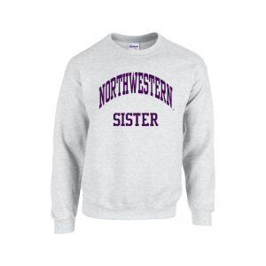 Northwestern University Wildcats Light Grey Crewneck Sweatshirt With Sister Design