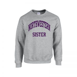 Northwestern University Wildcats Dark Grey Crewneck Sweatshirt With Sister Design