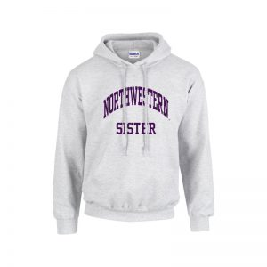 Northwestern University Wildcats Light Grey Hooded Sweatshirt With Sister Design