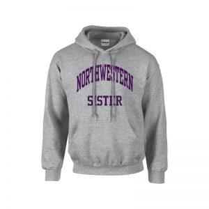 Northwestern University Wildcats Dark Grey Hooded Sweatshirt With Sister Design