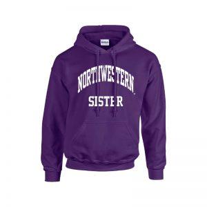 Northwestern University Wildcats Purple Hooded Sweatshirt With Sister Design