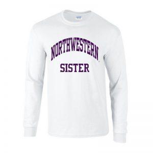 Northwestern University Wildcats White Long Sleeve Tee Shirt with Sister Design