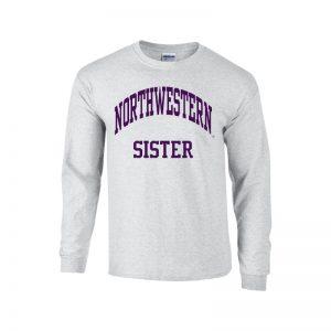 Northwestern University Wildcats Light Grey Long Sleeve Tee Shirt with Sister Design