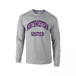 Northwestern University Wildcats Dark Grey Long Sleeve Tee Shirt with Sister Design