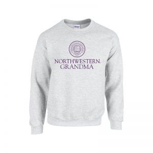 Northwestern University Wildcats Light Grey Crewneck Sweatshirt With Grandma Design