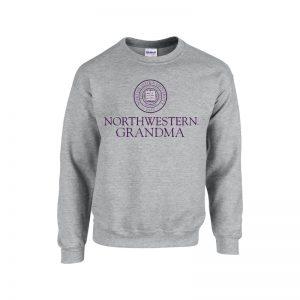 Northwestern University Wildcats Dark Grey Crewneck Sweatshirt With Grandma Design