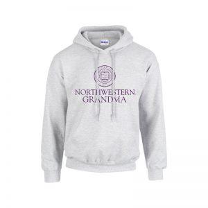 Northwestern University Wildcats Light Grey Hooded Sweatshirt With Grandma Design