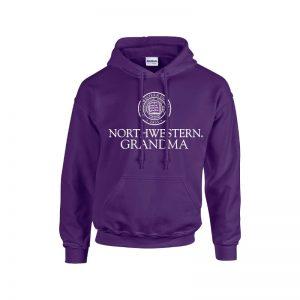 Northwestern University Wildcats Purple Hooded Sweatshirt With Grandma Design