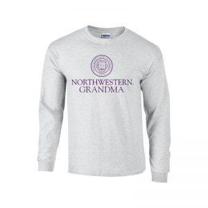 Northwestern University Wildcats Light Grey Long Sleeve Tee Shirt with Grandma Design
