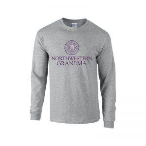 Northwestern University Wildcats Dark Grey Long Sleeve Tee Shirt with Grandma Design