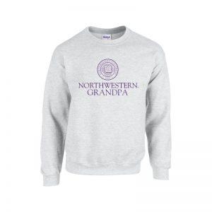 Northwestern University Wildcats Light Grey Crewneck Sweatshirt With Grandpa Design