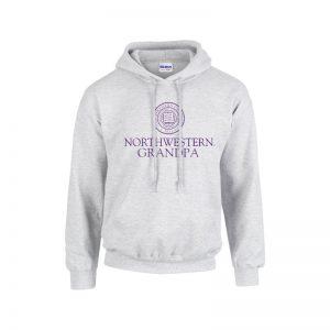 Northwestern University Wildcats Light Grey Hooded Sweatshirt With Grandpa Design