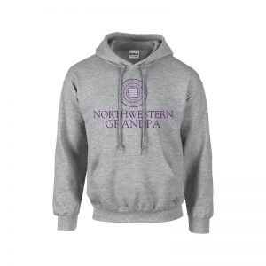 Northwestern University Wildcats Dark Grey Hooded Sweatshirt With Grandpa Design
