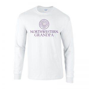 Northwestern University Wildcats White Long Sleeve Tee Shirt with Grandpa Design