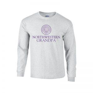 Northwestern University Wildcats Light Grey Long Sleeve Tee Shirt with Grandpa Design