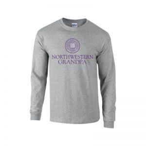 Northwestern University Wildcats Dark Grey Long Sleeve Tee Shirt with Grandpa Design
