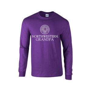 Northwestern University Wildcats Purple Long Sleeve Tee Shirt with Grandpa Design