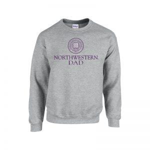 Northwestern University Wildcats Dark Grey Crewneck Sweatshirt With Dad Design