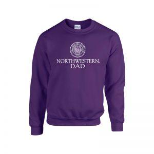 Northwestern University Wildcats Purple Crewneck Sweatshirt With Dad Design