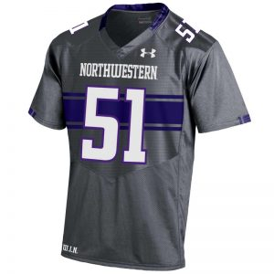 Northwestern University Wildcats Youth Under Armour Grey Replica Football Jersey with #51 -Front