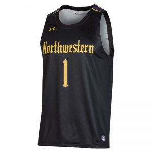 Northwestern University Wildcats Under Armour Adult Black Gothic Replica Basketball Jersey with #1-Front