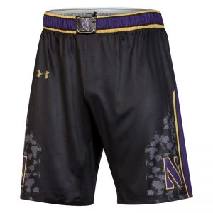 Northwestern University Wildcats Under Armour Black Gothic Adult Replica Basketball Shorts-Front
